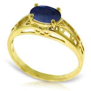 14K SOLID GOLD FILIGREE RING WITH NATURAL SAPPHIRE